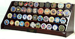 4 Rows 40 Challenge Coin Casino Chip Display Case Rack Holder Stand for Table Shelf Desk Cherry
