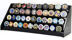 4 Rows 40 Challenge Coin Casino Chip Display Case Rack Holder Stand for Table Shelf Desk Black