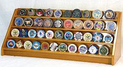 4 Rows 40 Challenge Coin Casino Chip Display Case Rack Holder Stand for Table Shelf Desk Oak