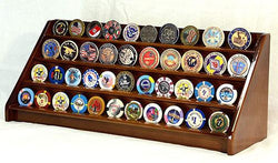 4 Rows 40 Challenge Coin Casino Chip Display Case Rack Holder Stand for Table Shelf Desk Walnut