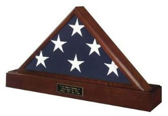 Marine Corps flag and Pedestal Case