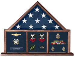 Flag and Medal Display Case, Shadow Box, Combination Flag/Medal for 5X9.5 flag