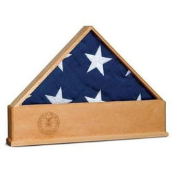 Oak US Flag Display Case with Engraved US Air Force Emblem