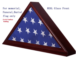 "Solid Beech Wood Flag Display Case for 5""X 9.5"" Burial/Funeral/Veteran Memorial Cherry"