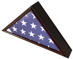 5x9 Flag Display Case Shadow Box Flat Base with Cherry Finish