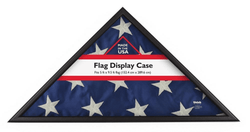 Memorial Flag Case, Black Wood, Made in USA, Holds 5'Hx9.5'W Folded Flag