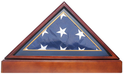 Burial/Funeral Flag Display Case Frame Military Shadow Box with Pedestal Stand (with Marine Dark Blue Mat)