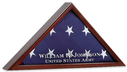 AMERICAN FLAG DISPLAY CASE FOR FUNERAL BURIAL FLAG SHADOW BOX PERSONALIZED ETCHED GLASS