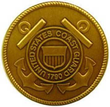 Coast Guard Official Logo Solid Brass Medallion attaches to flag case