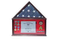 Large Military Shadow Box Frame Memorial Burial Funeral Flag Display Case for 5' X 9.5' Flag, Mahogany Finish, Solid Wood (Red Felt - Mahogany Finish)