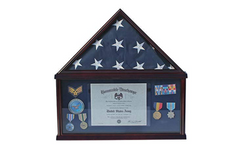 Large Military Shadow Box Frame Memorial Burial Funeral Flag Display Case for 5' X 9.5' Flag, Mahogany Finish, Solid Wood (Blue Felt - Mahogany Finish)