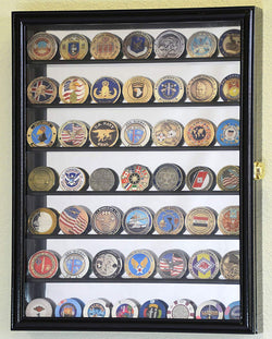 Mirrored Back Military Challenge Coin Display Case Cabinet Holders Rack w/UV Protection