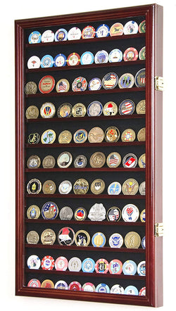 L Military Challenge Coin Display Case Cabinet Rack Holder Stand Box w/UV Protection, Cherry Finish