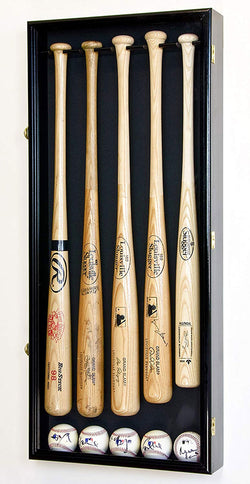 5 Baseball Bat Display Case Cabinet Holder Wall Rack w/98% UV Protection - Lockable