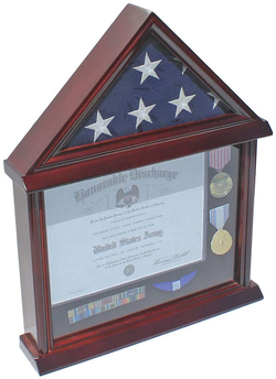Flag Display Case Shadow Box for a Small 3'X5' Home/Flown Flag, Mahogany Finish (Black Felt)