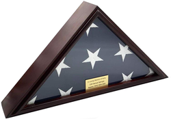 5x9 Burial/Funeral/Veteran Flag Elegant Display Case, Solid Wood, Cherry Finish, Flat Base (5x9, Flat)
