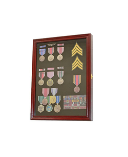 Cherry Finish  Display Case Wall Frame Cabinet for Military Medals, Pins, Patches, Insignia, Ribbons, Brooches.
