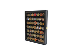 Challenge Coin / Casino Chip Display Case Cabinet Holder Shadow Box, Glass Door, Black
