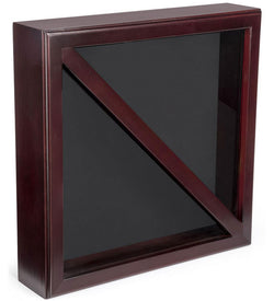 Wood Flag Case for (2) 5' x 9.5' Flags, Rear Loading, Glass Front - Mahogany