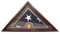 Marine Flag Display Case Box, 5x9 Burial - Funeral - Veteran Elegant Wood Display Case