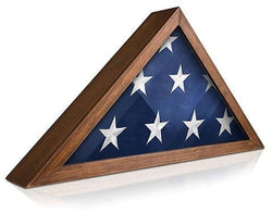 Solid Wood Military Flag Display Case for 9.5 x 5 American Veteran Burial Flag