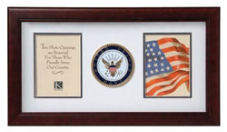 Flag Connections US Navy Medallion Double Picture Frame - Two 4 x 6 Photo Openings