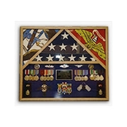 Flag Shadow case, 3 Flag Military Shadow Box - Cherry Material.