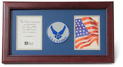 Flag Connections US Air Force Wings Medallion Double Picture Frame - Two 4 x 6 Photo Openings
