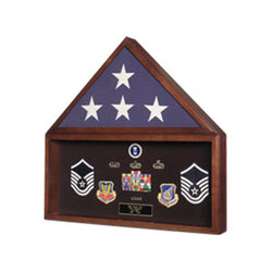 Burial Flag Medal Display case, Ceremonial Flag display - Material Walnut.