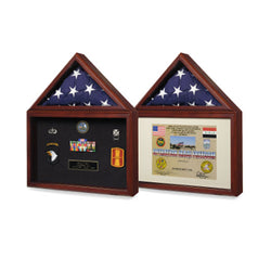 Air force Flag and medal display box- Shadow Box - Fit 3' x 5' flag or 5' x 8' flag or 5' x 9.5' Casket flag.