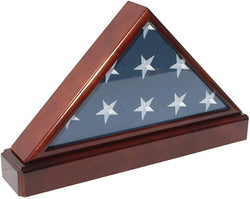 Burial/Funeral Flag Display Case Holder Frame Military Shadow Box with Pedestal Stand (with No Mat).