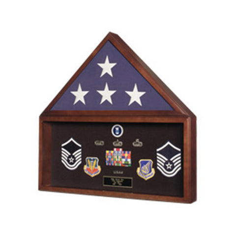 Burial Flag Medal Display case, Ceremonial Flag display - Material Cherry.