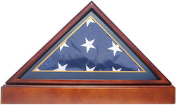 Burial/Funeral Flag Display Case Frame Military Shadow Box with Pedestal Stand (with Marine Dark Blue Mat).