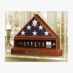 Presidential Pedestal Flag Medal Display - Walnut or Cherry Material.