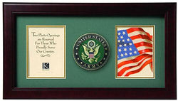 Flag Connections US American Flag Medallion Double Picture Frame - Two 4 x 6 Photo Openings