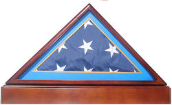 Burial/Funeral Flag Display Case Frame Military Shadow Box with Pedestal Stand (with Air Force Sky Blue Mat).