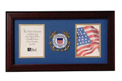 Flag Connections US Coast Guard Medallion Double Picture Frame - Two 4 x 6 Photo Openings