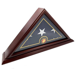 Flags Connections - 5x9 Burial/Funeral/Veteran Flag Elegant Display Case with Base, Solid Wood, Cherry Finish (Marine).