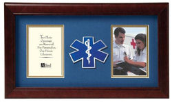 Flag Connections US EMS Medallion Double Picture Frame - Two 4 x 6 Photo Openings