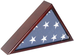 Solid Wood Memorial Flag Case Frame Display Case for 5x9.5' Flag Folded. for Funeral or Burial Flag, FC60-MAH.
