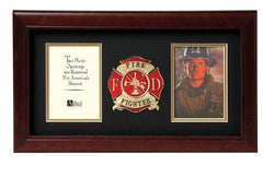 Flag Connections US Firefighter Medallion Double Picture Frame - Two 4 x 6 Photo Openings