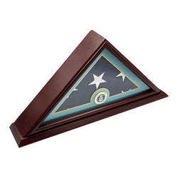Flags Connections - 5x9 Burial/Funeral/Veteran Flag Elegant Display Case with Base, Solid Wood, Mahogany Finish (Air Force).