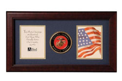 Flag Connections US Marine Corps Medallion Double Picture Frame - Two 4 x 6 Photo Openings