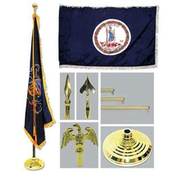 Super Tough Virginia 4ft x 6ft Flag, Telescoping Flagpole, Base, and Tassel