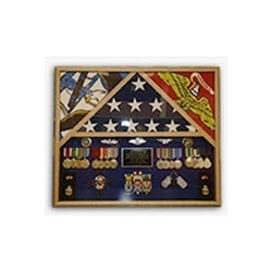 3 Flags Military Shadow Box, flag case for 3 flags - Oak Material.
