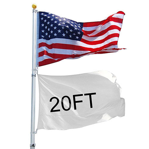 20ft Telescopic Aluminum Flag Pole Free 3'x5' US Flag & Ball Top Kit 16 Gauge Telescoping Flagpole Fly 2 Flags