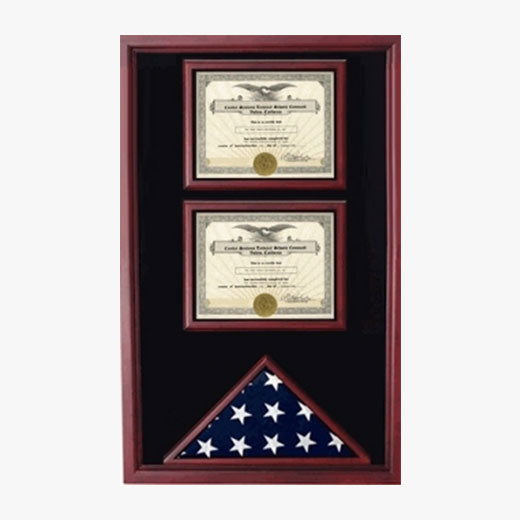2 Certificates Flag Display case - Black or Red or Blue or Green Background Color.