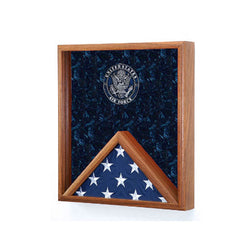 Flags Connections - Air Force Flag Display Case - USAF Flag Case - Walnut Material.
