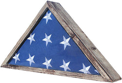 Rustic Flag Case - Military Flag Display Case for 9.5 x 5 American Veteran Burial Flag Folded - Flag Holder Shadow Box to Display Folded Flag. (Weathered Wood)