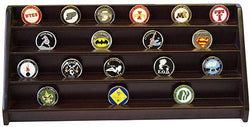 Flag Connections 4 Rows Shelf Challenge Coin Holder Display Casino Chips Holder Cherry Finish